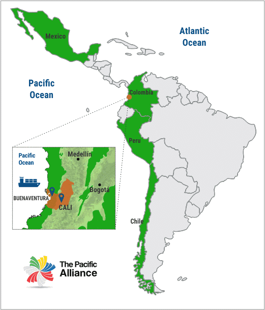 Valle del Cauca's geostrategic location, Invest Pacific